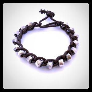 2/$40 Silver bead braided leather bracelet.